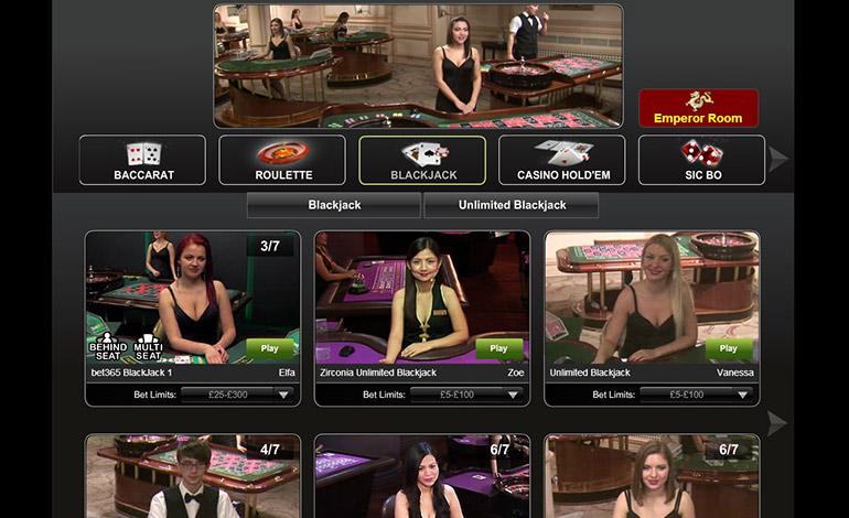 Bet365 Casino Menu