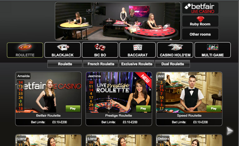Betfair Casino Menu