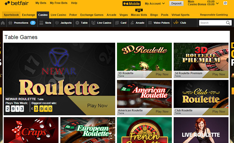 Betfair Casino Webpage