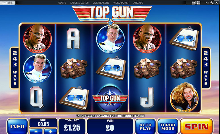 Betfair Top Gun Spins Game