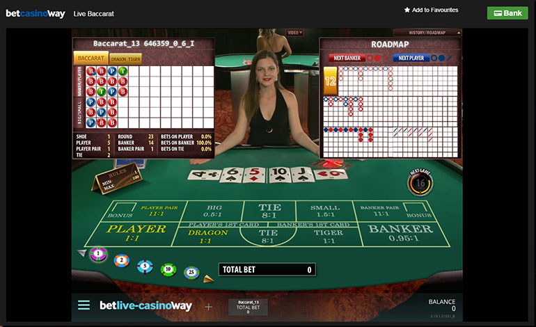 Betway Casino Baccarat Table