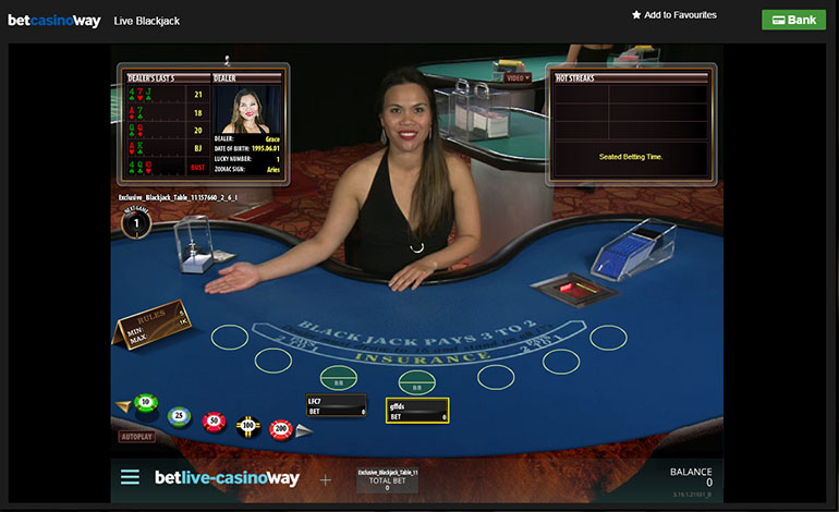 Betway Casino Live Blackjack