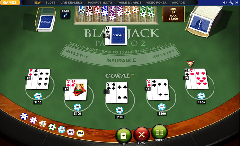 Coral Blackjack Table