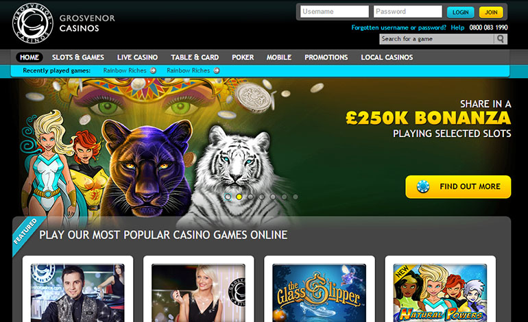 Grosvenor Casino Homepage