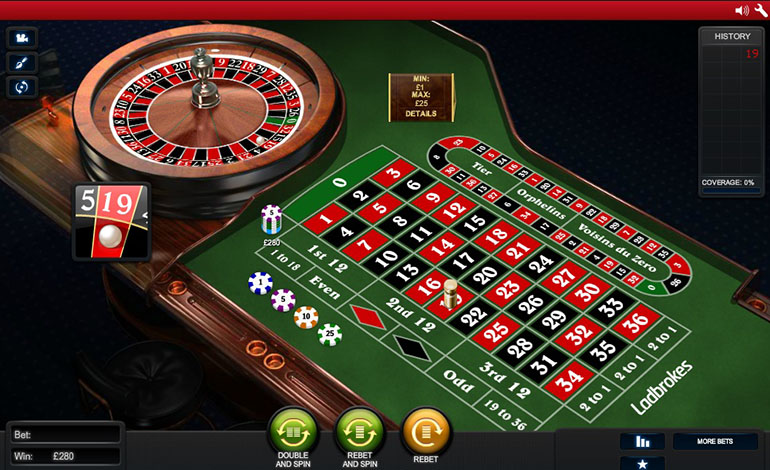 Ladbrokes Live Roulette Table
