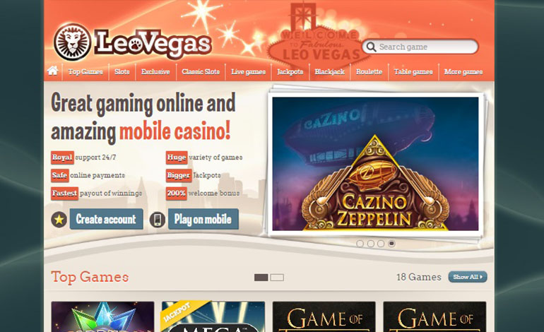 Leo Vegas Homepage Options