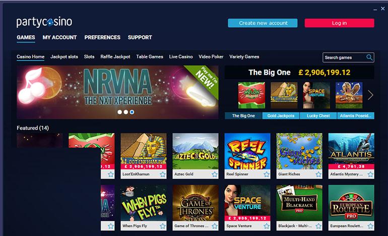 Party Casino Games Menu