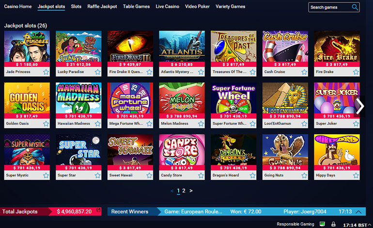 Party Casino Jackpot Slots Menu