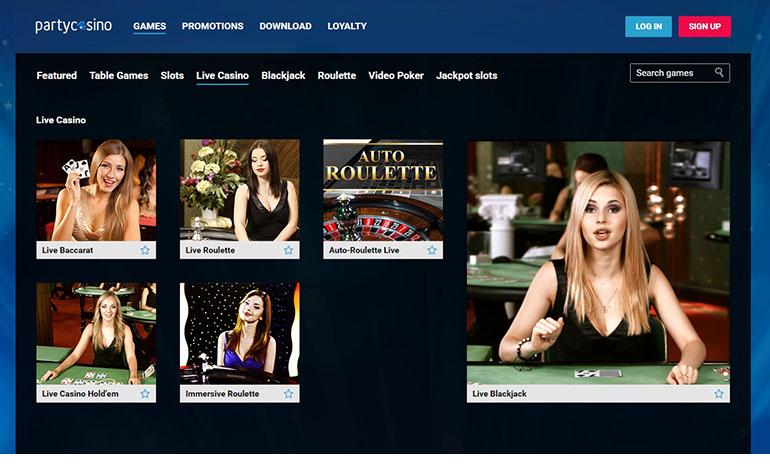 Party Casino Roulette Menu